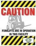 Forklifts are in operation