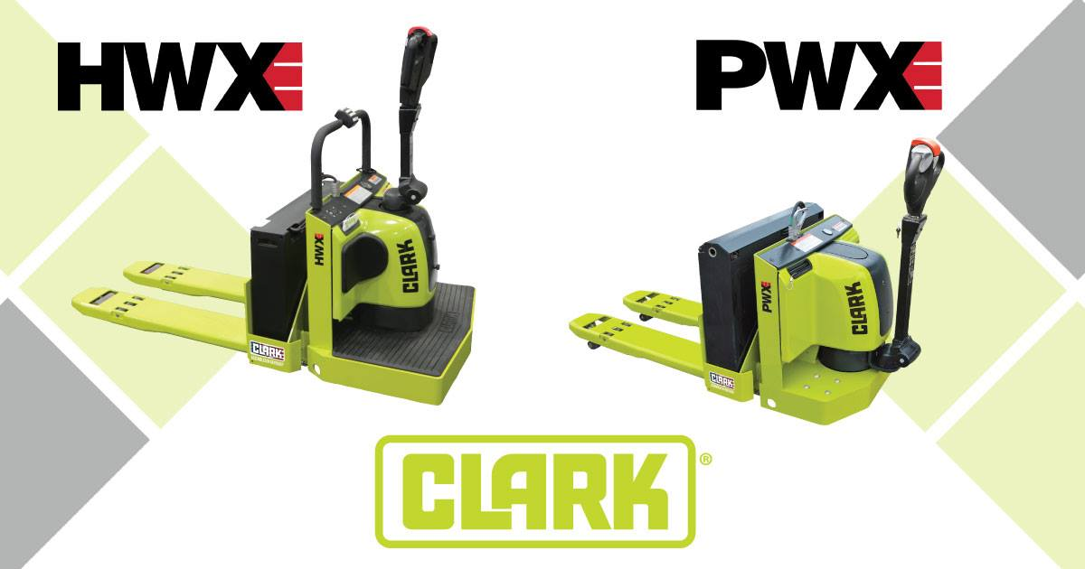 CLARK Material Handling's new HWXE and PWXE low lift electric pallet stackers